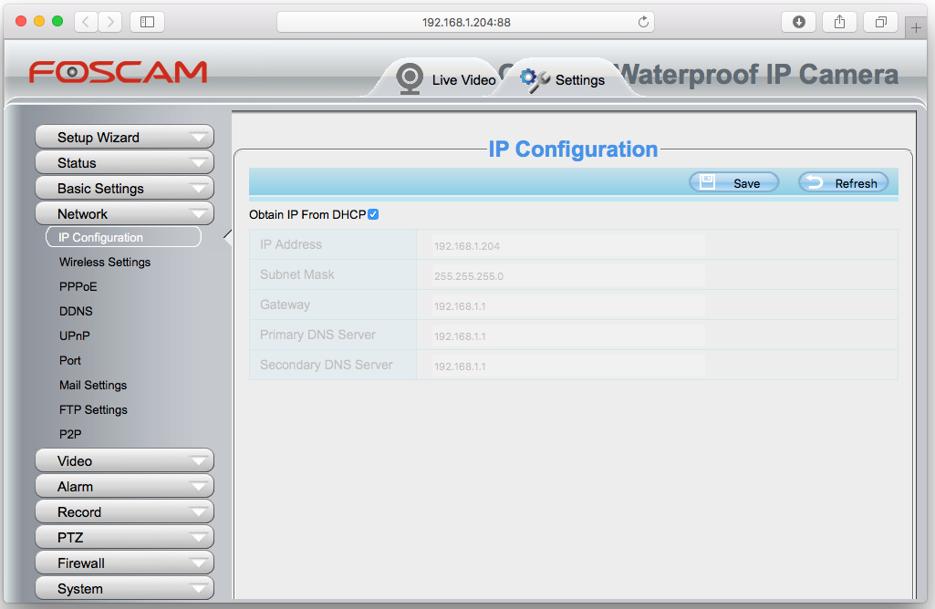 Setup Foscam IP Configuration Disabled
