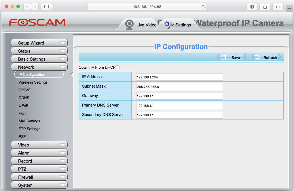Setup Foscam Web Interface IP Configuration Screenshot